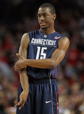 LOUISVILLE, KY - FEBRUARY 01:  Kemba Walker #15 of the Connecticut Huskies looks on during the Big East Conference game against the Louisville Cardinals on February 1, 2010 at Freedom Hall in Louisville, Kentucky.  (Photo by Andy Lyons/Getty Images)