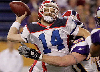 MINNEAPOLIS, MN - DECEMBER 05: Jared Allen #69 of the Minnesota Vikings sacks Ryan Fitzpatrick #14 of the Buffalo Bills at the Mall of America Field at the Hubert H. Humphrey Metrodome on December 5, 2010 in Minneapolis, Minnesota.  (Photo by Nick Laham/G