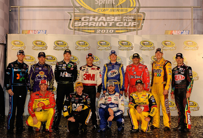 RICHMOND, VA - SEPTEMBER 11:  (Back row from L-R) The 2010 NASCAR Sprint Cup Series Chase contenders Denny Hamlin, driver of the #11 FedEx Office Toyota, Matt Kenseth, driver of the #17 Crown Royal Ford, Carl Edwards, driver of the #99 Kellogg's/Cheez-It
