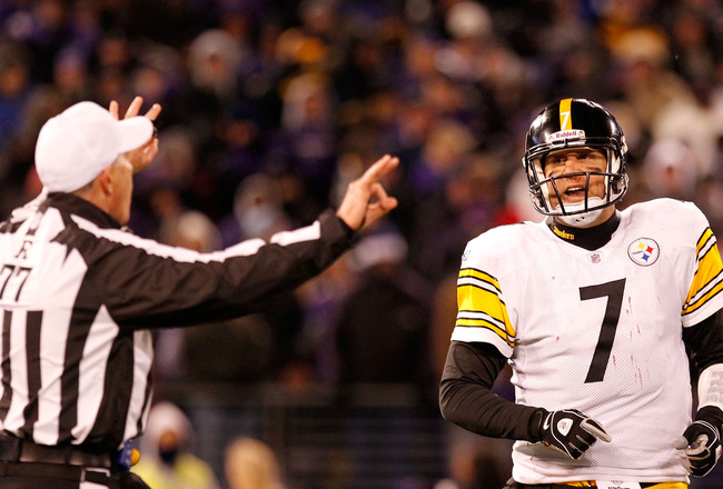 BALTIMORE, MD - DECEMBER 05:  Quarterback Ben Rothlisberger #7 of the Pittsburgh Steelers argues with referee Terry McAulay #77 during the game against the Baltimore Ravens at M&amp;T Bank Stadium on December 5, 2010 in Baltimore, Maryland. Pittsburgh won 13-