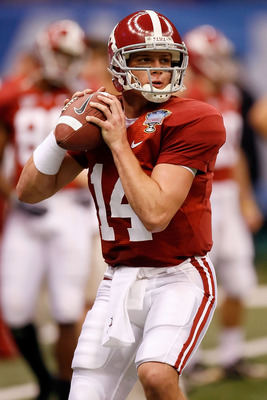 NEW ORLEANS - JANUARY 02:  Quarterback John Parker Wilson #14 of the Alabama Crimson Tide warms-up before taking on the Utah Utes during the 75th Allstate Sugar Bowl at the Louisiana Superdome on January 2, 2008 in New Orleans, Louisiana.  (Photo by Kevin