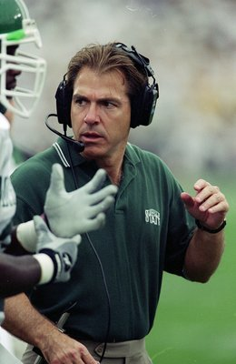 16 Oct 1999:  Coach Nick Saban of the Michigan State Spartans looks on during the game against the Purdue Boilermakers at the Ross-Ade Stadium in West Lafayette, Indiana. The Boilermakers defeated the Spartans 52-28. Mandatory Credit: Tom Pidgeon  /Allspo