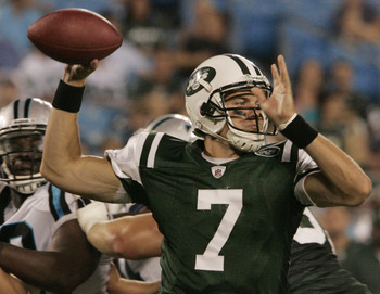 CHARLOTTE, NC  - AUGUST 21:  Quarterback Kevin O'Connell #7 of the New York Jets throws during a preseason game against the Carolina Panthers at Bank of America Stadium on August 21, 2010 in Charlotte, North Carolina. (Photo by Mary Ann Chastain/Getty Ima
