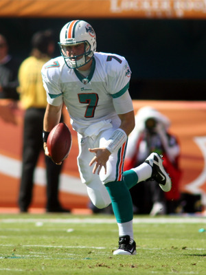 MIAMI - DECEMBER 05:  Quarterback Chad Henne #7 of the Miami Dolphins scrambles against the Cleveland Browns at Sun Life Stadium on December 5, 2010 in Miami, Florida.  (Photo by Marc Serota/Getty Images)