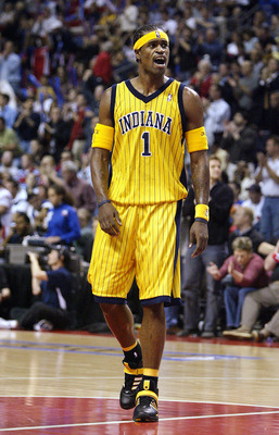 AUBURN HILLS, MI - MAY 11: Stephen Jackson #1 of the Indiana Pacers shouts during a break in play against the Detroit Pistons during the second half of Game two of the Eastern Conference Semifinals during the 2005 NBA Playoffs at The Palace of Auburn Hill