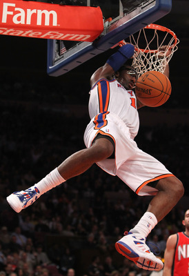 NEW YORK, NY - NOVEMBER 30:  Amar'e Stoudemire #1 of the New York Knicks dunks the ball against the New Jersey Nets on November 30, 2010 at Madison Square Garden in New York City. NOTE TO USER: User expressly acknowledges and agrees that, by downloading a