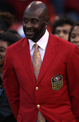 SAN FRANCISCO - SEPTEMBER 20:  Former member of the San Francisco 49ers Jerry Rice has his number retired at halftime against the New Orleans Saints during an NFL game at Candlestick Park on September 20, 2010 in San Francisco, California.  (Photo by Jed