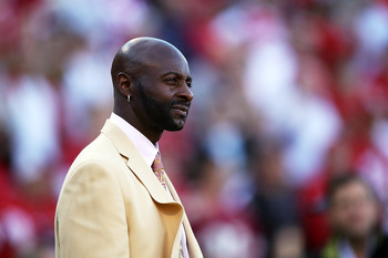SAN FRANCISCO - SEPTEMBER 20:  Former member of the San Francisco 49ers Jerry Rice looks on against the New Orleans Saints during an NFL game at Candlestick Park on September 20, 2010 in San Francisco, California.  (Photo by Jed Jacobsohn/Getty Images)