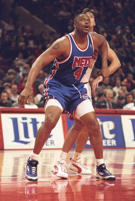 17 Nov 1995:  Forward Rick Mahorn of the New Jersey Nets looks for the ball during a game against the Chicago Bulls at the United Center in Chicago, Illinois.  The Bulls won the game, 109-94. Mandatory Credit: Jonathan Daniel  /Allsport