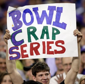 GLENDALE, AZ - JANUARY 04:  A fan holds up a sign before the Tostitos Fiesta Bowl between the Boise State Broncos and the TCU Horned Frogs at the Universtity of Phoenix Stadium on January 4, 2010 in Glendale, Arizona.  (Photo by Jamie Squire/Getty Images)