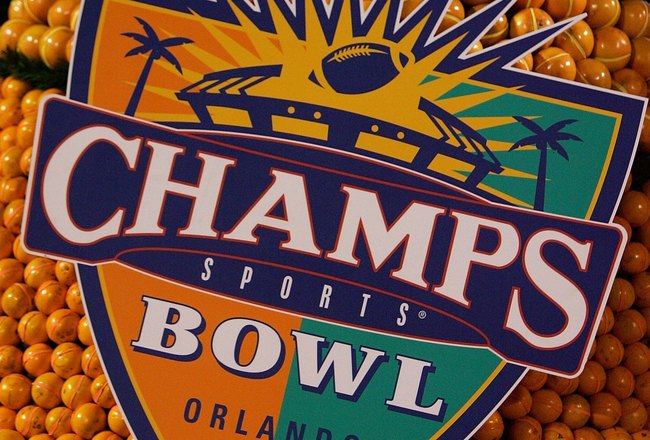 ORLANDO, FL - DECEMBER 28:  The Champs Bowl float  sits parked in the endzone on December 28, 2007 at the Citrus Bowl in Orlando, Florida.  (Photo by Sam Greenwood/Getty Images)