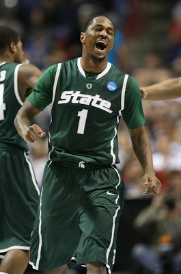 SPOKANE, WA - MARCH 21:  Kalin Lucas #1 of the Michigan State Spartans reacts after a teammate scored against the Maryland Terrapins during the second round of the 2010 NCAA men's basketball tournament at the Spokane Arena on March 21, 2010 in Spokane, Wa