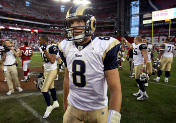 GLENDALE, AZ - DECEMBER 05:  Quarterback Sam Bradford #8 of the St. Louis Rams walks off the field following the NFL game against the Arizona Cardinals at the University of Phoenix Stadium on December 5, 2010 in Glendale, Arizona.  The Rams defeated the C