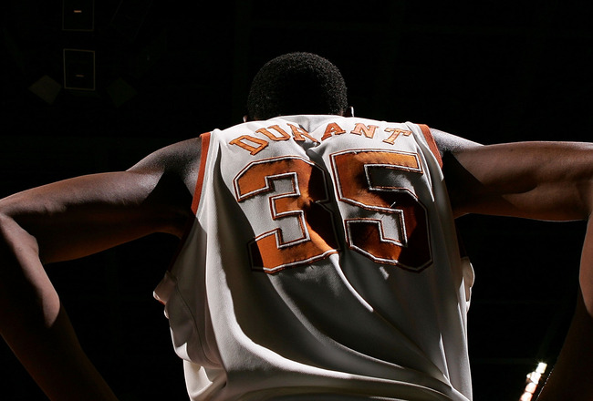 SPOKANE, WA - MARCH 16: A view of the back of Kevin Durant #35 of the Texas Longhorns during the first round of the NCAA Men's Basketball Tournament against the New Mexico State Aggies at Spokane Memorial Arena on March 16, 2007 in Spokane, Washington.  T