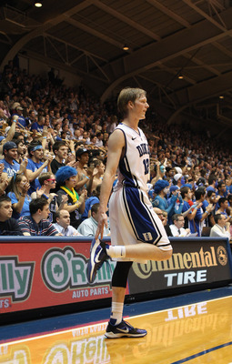 DURHAM, NC - DECEMBER 01:  Kyle Singler #12 of the Duke Blue Devils watches on during their game against the Michigan State Spartans at Cameron Indoor Stadium on December 1, 2010 in Durham, North Carolina.  (Photo by Streeter Lecka/Getty Images)