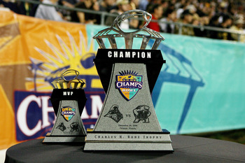 ORLANDO, FL - DECEMBER 29:  The Charles H. Rohe Trophy is shown on the sideline during the Purdue Boilermakers game against the Maryland Terrapins in the Champs Sports Bowl at Florida Citrus Bowl on December 29, 2006 in Orlando, Florida. Maryland won 24-7