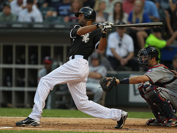 CHICAGO - AUGUST 10: Alex Rios #51 of the Chicago White Sox hits the ball against the Minnesota Twins at U.S. Cellular Field on August 10, 2010 in Chicago, Illinois. The Twins defeated the White Sox 12-6. (Photo by Jonathan Daniel/Getty Images)
