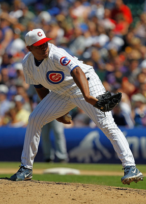 CHICAGO - JULY 03: Carlos Marmol #49 of the Chicago Cubs pitches in the 9th inning on his way to a save against the Cincinnati Reds at Wrigley Field on July 3, 2010 in Chicago, Illinois. The Cubs defeated the Reds 3-1. (Photo by Jonathan Daniel/Getty Imag