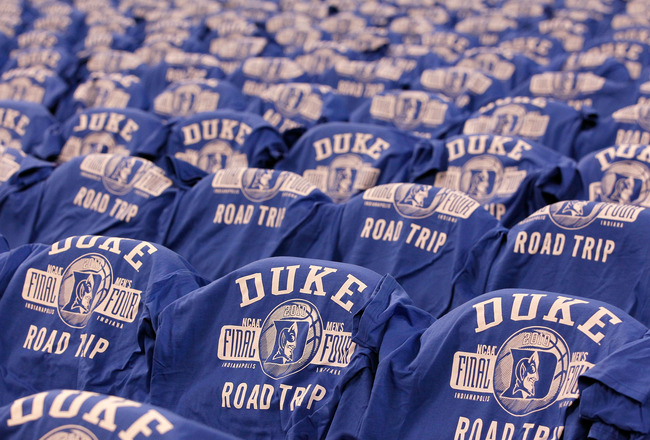 INDIANAPOLIS - APRIL 03:  Final four t-shirts with the logo of the Duke Blue Devils are seen on the backs of chairs against the West Virginia Mountaineers during the National Semifinal game of the 2010 NCAA Division I Men's Basketball Championship on Apri