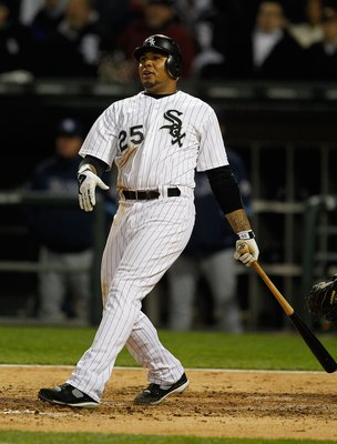CHICAGO - APRIL 21: Andruw Jones #25 of the Chicago White Sox hits the ball against the Tampa Bay Rays at U.S. Cellular Field on April 21, 2010 in Chicago, Illinois. The Rays defeated the White Sox 12-0. (Photo by Jonathan Daniel/Getty Images)