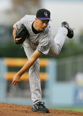 LOS ANGELES, CA - JUNE 03:   Jeff Francis #26 of the Colorado Rockies pitches against the Los Angeles Dodgers at Dodger Stadium on June 3, 2008 in Los Angeles, California.  (Photo by Lisa Blumenfeld/Getty Images)