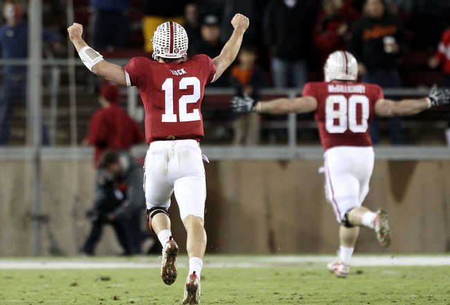 PALO ALTO, CA - NOVEMBER 27:  Andrew Luck #12  of the Stanford Cardinal celebrates after they scored a touchdown during their game against the Oregon State Beavers at Stanford Stadium on November 27, 2010 in Palo Alto, California.  (Photo by Ezra Shaw/Get