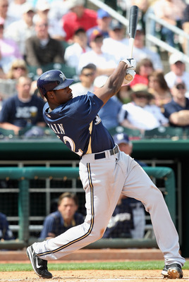 GOODYEAR , AZ - MARCH 06:  Lorenzo Cain #62 of the Milwaukee Brewers bats against the Cleveland Indians during the spring training game at Goodyear Ballpark on March 6, 2009 in Goodyear, Arizona. The Brewers defeated the Indians 17-7.  (Photo by Christian