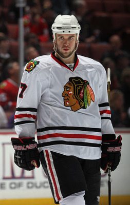 ANAHEIM, CA - NOVEMBER 26:  Brent Seabrook #7 of the Chicago Blackhawks looks on against the Anaheim Ducks at the Honda Center on November 26, 2010 in Anaheim, California.  (Photo by Jeff Gross/Getty Images)