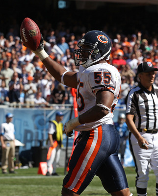 CHICAGO - SEPTEMBER 12: Lance Briggs #55 of the Chicago Bears celebrates a turn-over during the NFL season opening game against the Detroit Lions at Soldier Field on September 12, 2010 in Chicago, Illinois. The Bears defeated the Lions 19-14. (Photo by Jo