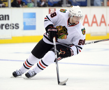 LOS ANGELES, CA - NOVEMBER 27:  Patrick Kane #88 of the Chicago Blackhawks turns with the puck during the game against the Los Angeles Kings at Staples Center on November 27, 2010 in Los Angeles, California.  (Photo by Harry How/Getty Images)