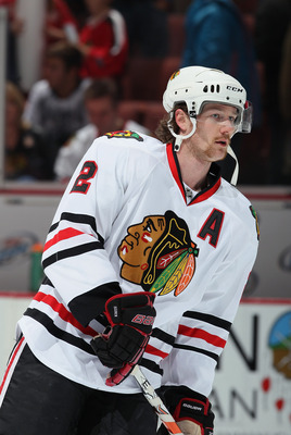 ANAHEIM, CA - NOVEMBER 26:  Duncan Keith #2 of the Chicago Blackhawks skates prior to the start of the game against the Anaheim Ducks at the Honda Center on November 26, 2010 in Anaheim, California.  (Photo by Jeff Gross/Getty Images)
