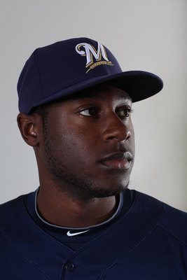 MARYVALE, AZ - MARCH 01:  Lorenzo Cain #36 poses for a portrait during the Milwaukee Brewers Photo Day at the Maryvale  Baseball Park on March 1, 2010 in Maryvale, Arizona.  (Photo by Jonathan Ferrey/Getty Images)