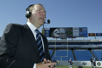 ORCHARD PARK, NY - SEPTEMBER 17:  Gary Bettman, NHL Commissioner speaks on a local radio show on September 17, 2007 at Ralph Wilson Stadium in Orchard Park, New York. A press conference was held to announce that the 2008 NHL Winter Classic will be played