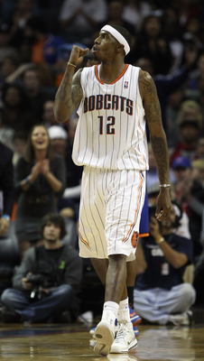 CHARLOTTE, NC - NOVEMBER 24:  Tyrus Thomas #12 of the Charlotte Bobcats reacts after a play against the New York Knicks during their game at Time Warner Cable Arena on November 24, 2010 in Charlotte, North Carolina.  NOTE TO USER: User expressly acknowled
