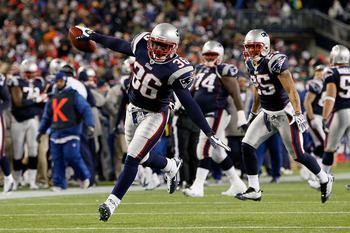 FOXBORO, MA - DECEMBER 06:  James Sanders #36 of the New England Patriots celebrates after he intercepted a pass against the New York Jets at Gillette Stadium on December 6, 2010 in Foxboro, Massachusetts.  (Photo by Jim Rogash/Getty Images)