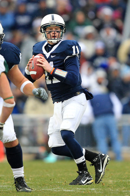 STATE COLLEGE, PA - NOVEMBER 27: Quarterback Matt McGloin #11 of the Penn State Nittany Lions drops back to pass during a game against the Michigan State Spartans on November 27, 2010 at Beaver Stadium in State College, Pennsylvania. The Spartans won 28-2