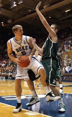 DURHAM, NC - DECEMBER 01:  Mason Plumlee #5 of the Duke Blue Devils during their game against the Michigan State Spartans at Cameron Indoor Stadium on December 1, 2010 in Durham, North Carolina.  (Photo by Streeter Lecka/Getty Images)