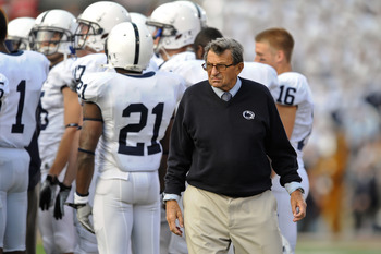 COLUMBUS, OH - NOVEMBER 13:  Head Coach Joe Paterno watches his team play the Ohio State Buckeyes at Ohio Stadium on November 13, 2010 in Columbus, Ohio.  (Photo by Jamie Sabau/Getty Images)