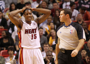 MIAMI, FL - DECEMBER 04: Mario Chalmers #15 of the Miami Heat reacts after being called for a foul during a game against the Atlanta Hawks at American Airlines Arena on December 4, 2010 in Miami, Florida. NOTE TO USER: User expressly acknowledges and agre