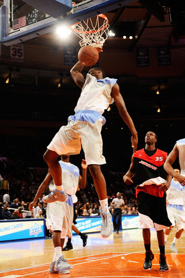 NEW YORK - APRIL 17:  Harrison Barnes #40 of West Team slams a dunk against East Team during the National Game at the 2010 Jordan Brand classic at Madison Square Garden on April 17, 2010 in New York City.  (Photo by Jeff Zelevansky/Getty Images for Jordan