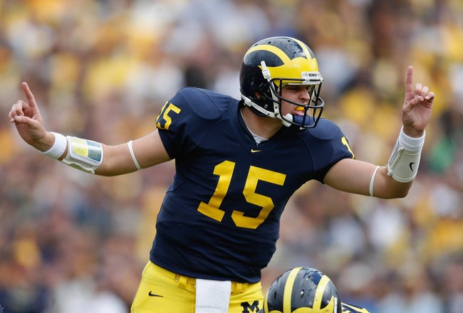 ANN ARBOR, MI - SEPTEMBER 15:  Ryan Mallett #15 of the Michigan Wolverines calls out signals during the game against the Notre Dame Fighting Irish on September 15, 2007 at Michigan Stadium in Ann Arbor, Michigan. Michigan won 38-0. (Photo by Gregory Shamu