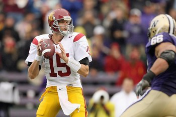 SEATTLE - SEPTEMBER 19: Aaron Corp #15 of the USC Trojans passes the ball during the game against the Washington Huskies on September 19, 2009 at Husky Stadium in Seattle, Washington. The Huskies defeated the Trojans 16-13. (Photo by Otto Greule Jr/Getty