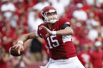 FAYETTEVILLE - SEPTEMBER 25: Ryan Mallett #15 of the Arkansas Razorbacks passes the ball against the Alabama Crimson Tide at Donald W. Reynolds Razorback Stadium on September 25, 2010 in Fayetteville, Arkansas. Alabama won 24-20. (Photo by Joe Robbins/Get