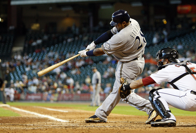 HOUSTON - SEPTEMBER 15:  Prince Fielder #28 of the Milwaukee Brewers hits a soft line drive to left field in the fifth inning against the Houston Astros on September 15, 2010 in Houston, Texas.  (Photo by Bob Levey/Getty Images)