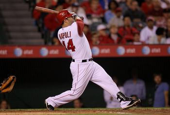 ANAHEIM, CA - SEPTEMBER 06: Mike Napoli of the Los Angeles Angels of Anaheim bats against the Cleveland Indians on September 6, 2010 at Angel Stadium in Anaheim, California.  (Photo by Stephen Dunn/Getty Images)