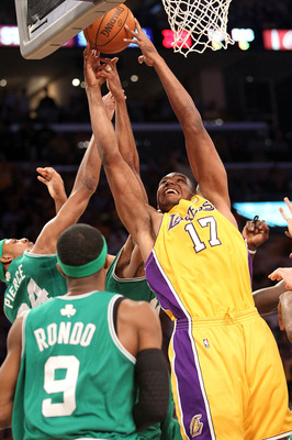 LOS ANGELES, CA - JUNE 17:  Andrew Bynum #17 of the Los Angeles Lakers goes up for a shot over Paul Pierce #34 of the Boston Celtics in the first quarter of Game Seven of the 2010 NBA Finals at Staples Center on June 17, 2010 in Los Angeles, California.