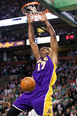 BOSTON - JUNE 13:  Andrew Bynum #17 of the Los Angeles Lakers dunks against the Boston Celtics during Game Five of the 2010 NBA Finals on June 13, 2010 at TD Garden in Boston, Massachusetts. NOTE TO USER: User expressly acknowledges and agrees that, by do