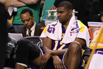 BOSTON - JUNE 13:  Andrew Bynum #17 of the Los Angeles Lakers looks on from the bench in the second half against the Boston Celtics during Game Five of the 2010 NBA Finals on June 13, 2010 at TD Garden in Boston, Massachusetts. NOTE TO USER: User expressl