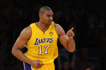 LOS ANGELES, CA - JUNE 03:  Andrew Bynum #17 of the Los Angeles Lakers reacts in the first half against the Boston Celtics in Game One of the 2010 NBA Finals at Staples Center on June 3, 2010 in Los Angeles, California.  NOTE TO USER: User expressly ackno