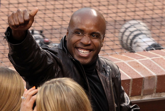 SAN FRANCISCO - OCTOBER 27:  Barry Bonds gestures from his seat during Game One of the 2010 MLB World Series at AT&amp;T Park on October 27, 2010 in San Francisco, California.  (Photo by Christian Petersen/Getty Images)